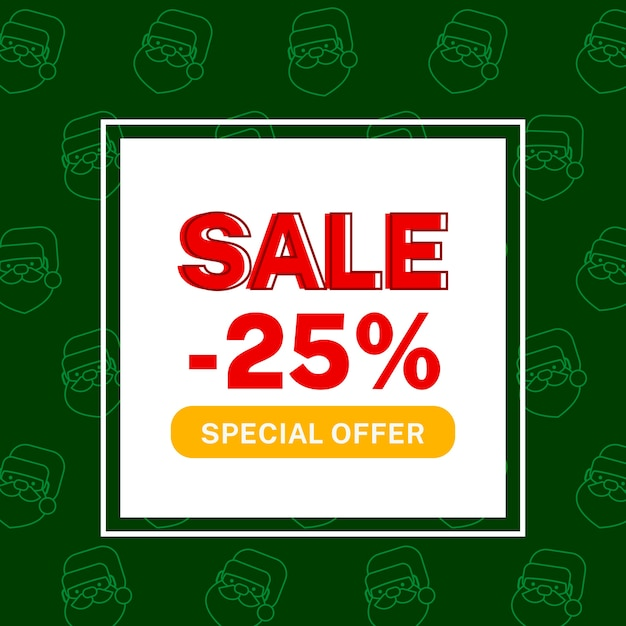Hand drawn christmas sale with santa claus Free Vector