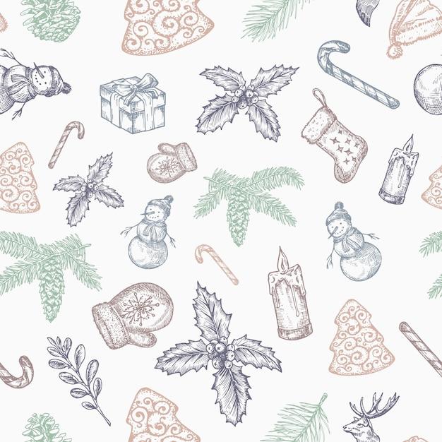 손으로 그린 크리스마스 원활한 배경 패턴입니다. 무료 벡터