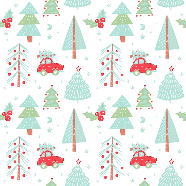 Hand drawn christmas seamless pattern with christmas trees. cute red retro car in winter fir forest. Premium Vector