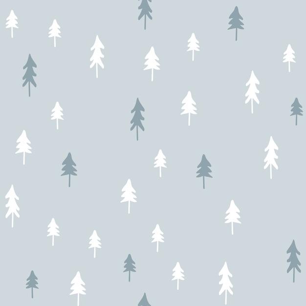 手は、クリスマスツリーとシームレスなパターンを描いた。 Premiumベクター