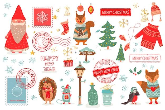 Ручной обращается рождественский набор в мультяшном стиле. веселая открытка с милыми животными и другими элементами: лисица, мышка, белка, птица хетчог, санта, новогодняя елка, почтовые марки. иллюстрация Premium векторы