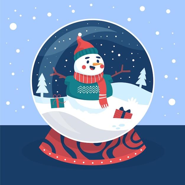 눈사람으로 손으로 그린 크리스마스 눈덩이 글로브 무료 벡터