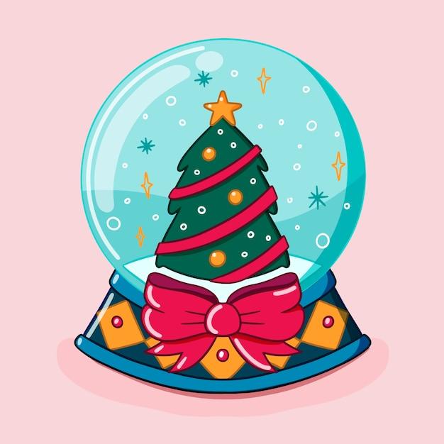 Hand drawn christmas snowball globe with tree and ribbon bow Free Vector