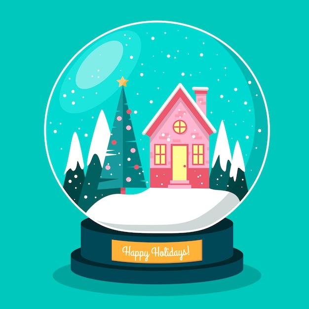 Hand drawn christmas snowball globe Free Vector