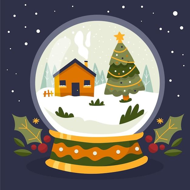 手描きのクリスマス雪玉地球 無料ベクター