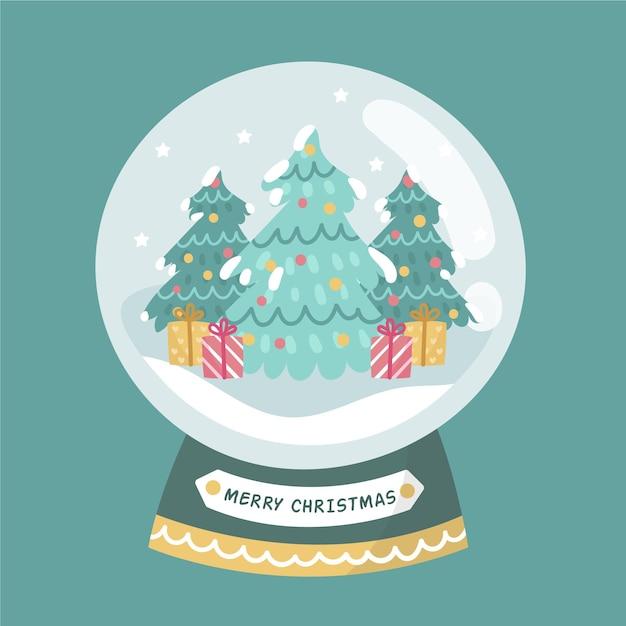 Globo della palla di neve di natale disegnato a mano Vettore gratuito