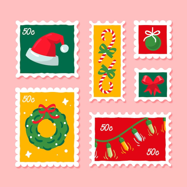 Hand drawn christmas stamp collection Free Vector