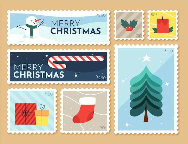 손으로 그린 크리스마스 우표 수집 무료 벡터