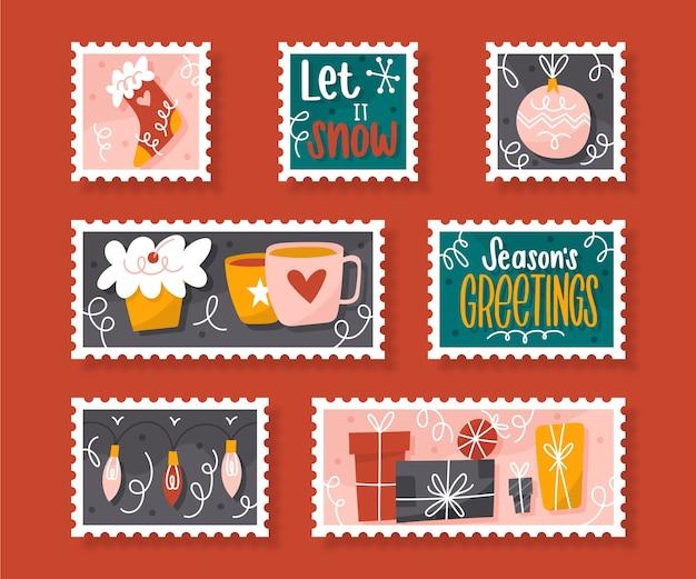 手描きのクリスマス切手コレクション 無料ベクター
