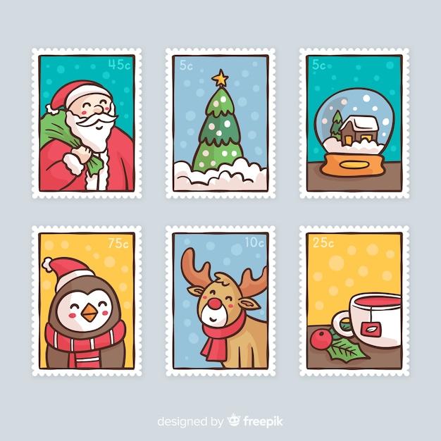 Hand drawn christmas stamp Free Vector