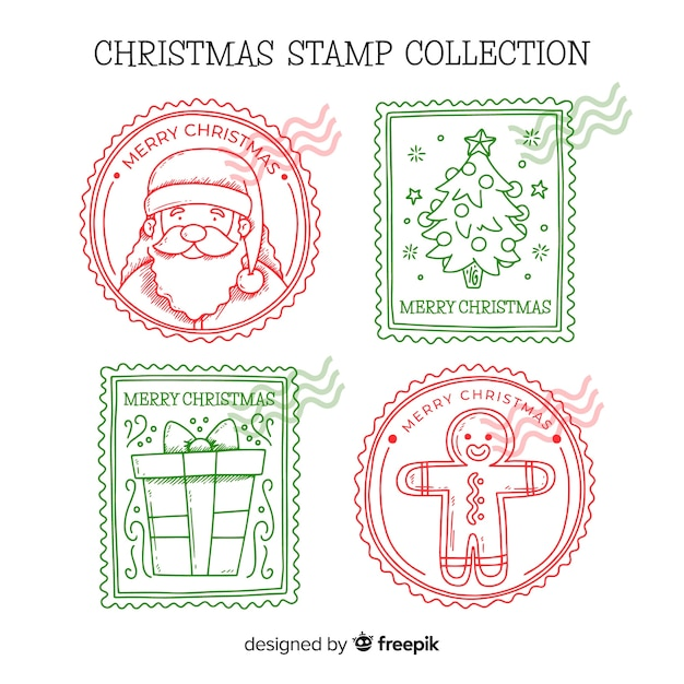 Hand drawn christmas stamps pack Free Vector
