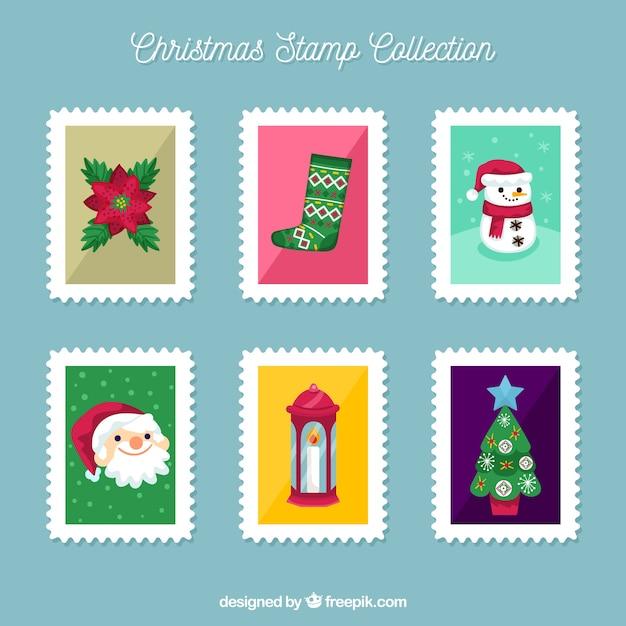 Hand drawn christmas stamps