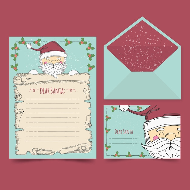 Hand drawn christmas stationery template Free Vector
