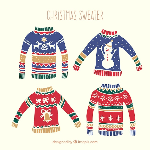 Hand Drawn Christmas Sweaters Pack Vector Free Download