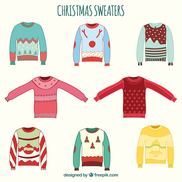 Hand drawn christmas sweaters Free Vector