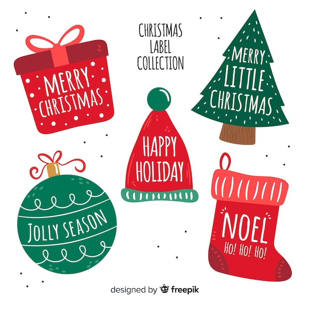 Hand drawn christmas tags collection Free Vector