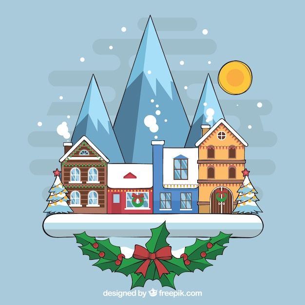 Hand drawn christmas ton with the mountains and full moon Free Vector