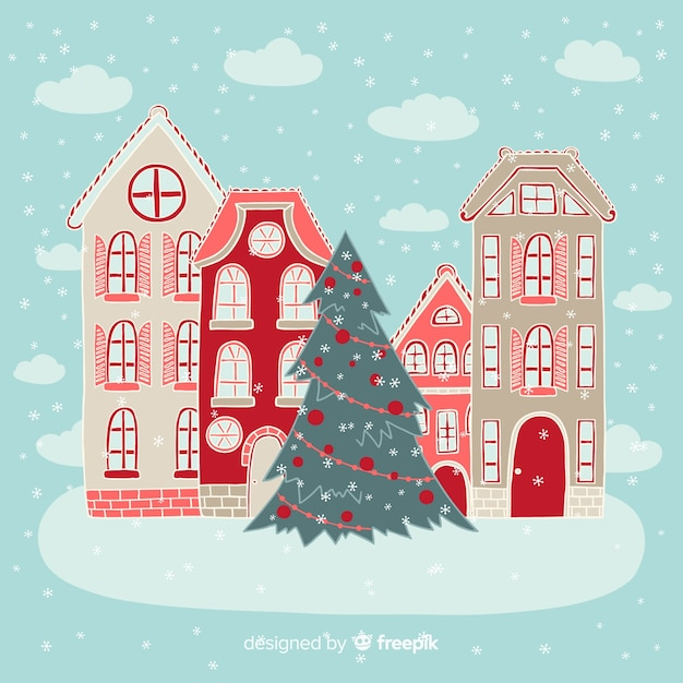 Hand drawn christmas town background Free Vector