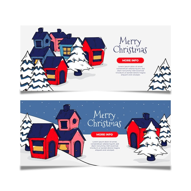 Hand drawn christmas town banners template Free Vector