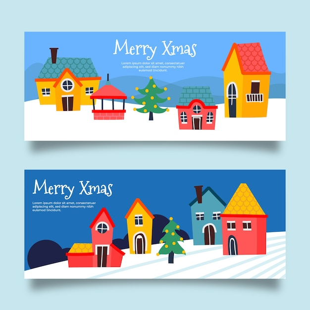 Hand drawn christmas town banners Free Vector