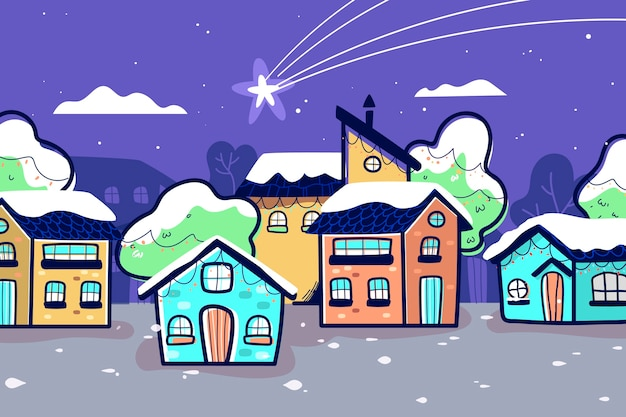 Hand drawn christmas town and fallen star Free Vector