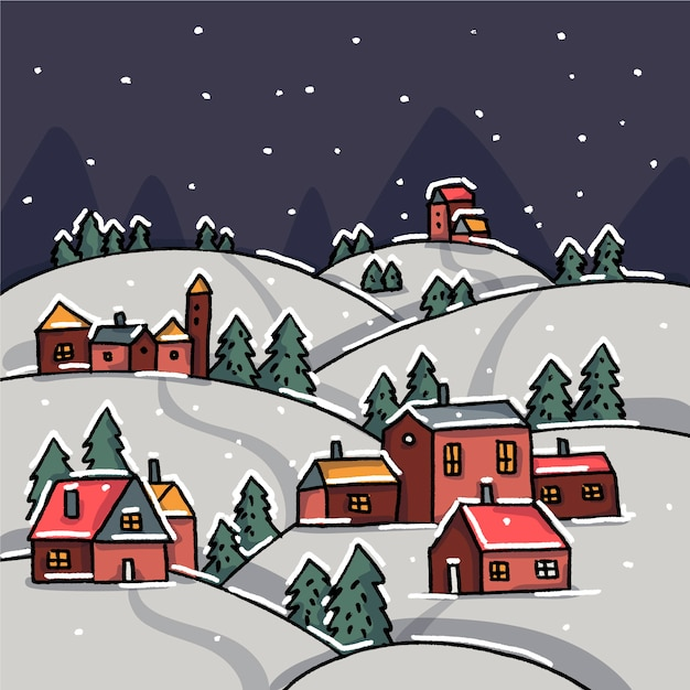 Hand drawn christmas town wallpaper Free Vector