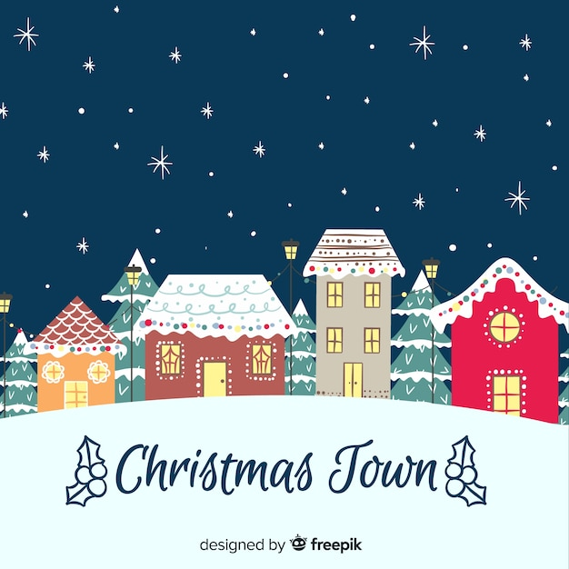Hand drawn christmas town Free Vector
