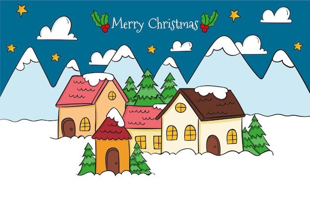 Hand drawn christmas town Premium Vector