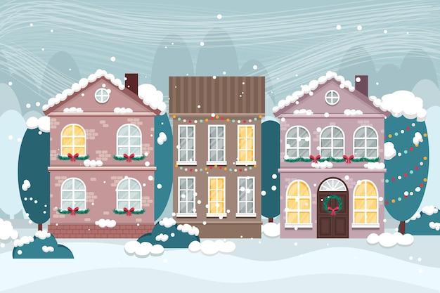 手描きのクリスマスの町 無料ベクター