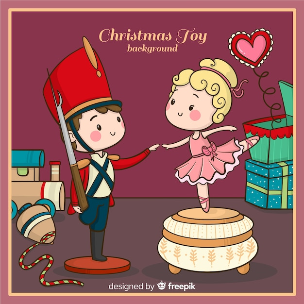 Hand drawn christmas toy background Free Vector