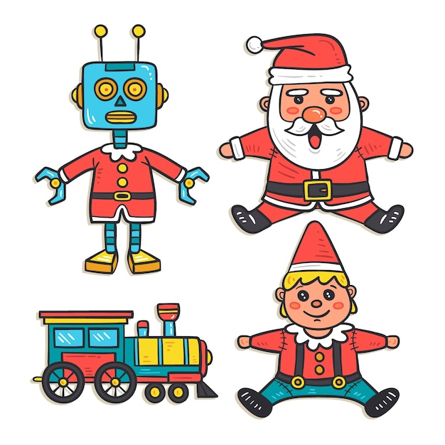 Hand drawn christmas toy set Free Vector