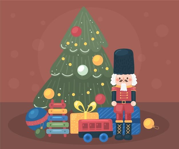 손으로 그린 크리스마스 장난감 배경 무료 벡터