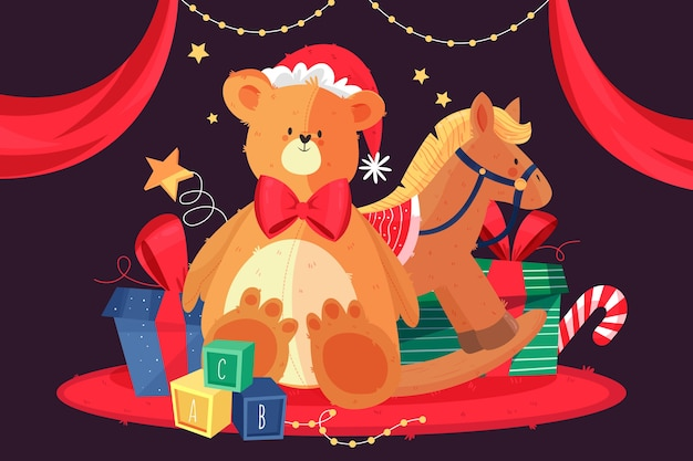Hand drawn christmas toys background Free Vector