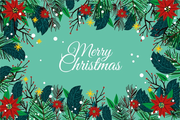 Hand drawn christmas tree branches background Free Vector