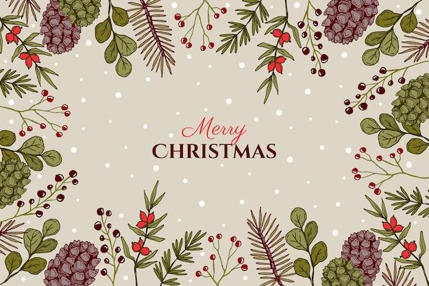 Ручной обращается рождественская елка ветви фон Бесплатные векторы