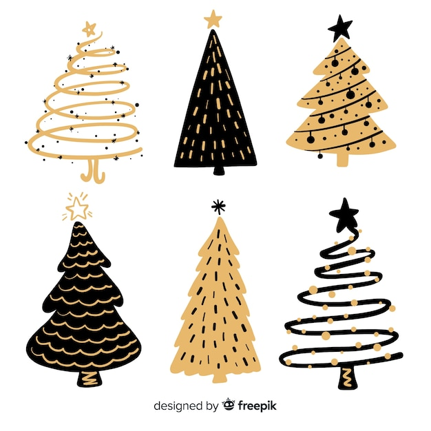 Hand drawn christmas tree collection Free Vector