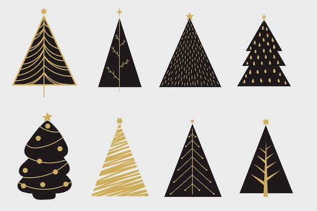 hand drawn christmas tree collection vector free download. Black Bedroom Furniture Sets. Home Design Ideas