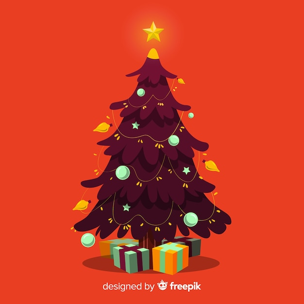 Christmas Tree Illustration.Hand Drawn Christmas Tree Illustration Vector Free Download