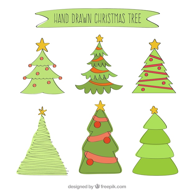 Christmas Tree Vector Image.Hand Drawn Christmas Tree Vector Free Download