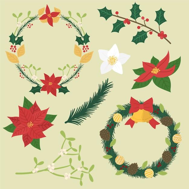 Ручной обращается рождественский венок Бесплатные векторы