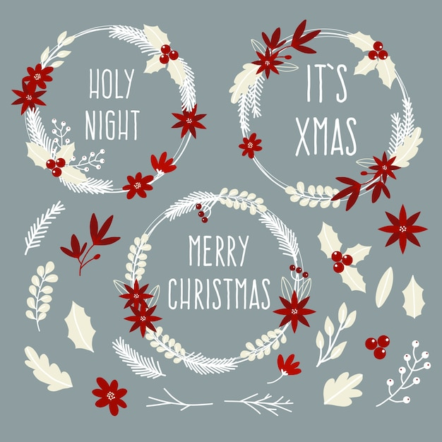 Hand drawn christmas wreath collection Free Vector