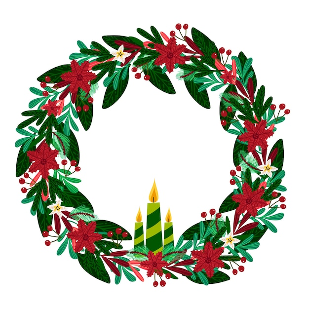 Hand drawn christmas wreath concept Free Vector