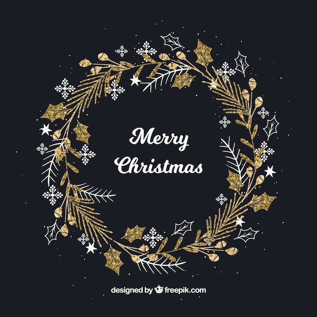 Hand drawn christmas wreath gold background Free Vector