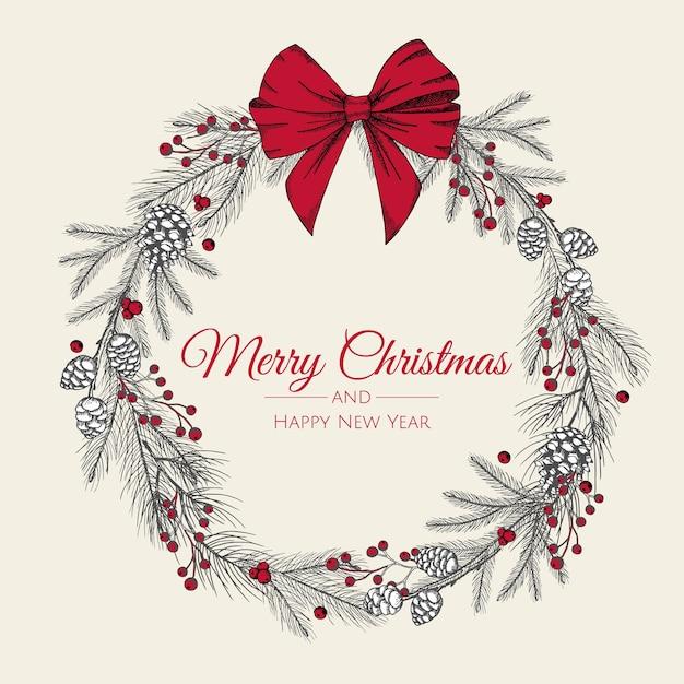 赤い弓と木の手描きのクリスマスリース。カード、 Premiumベクター