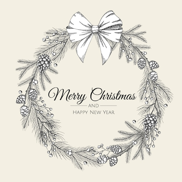 Hand drawn christmas wreath of tree with white bow Premium Vector