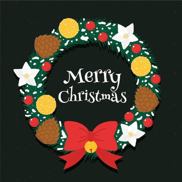 Ручной обращается рождественский венок с милой лентой лук Бесплатные векторы