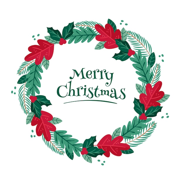 Hand drawn christmas wreath with pine leaves Free Vector