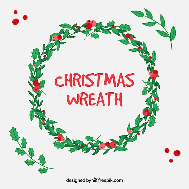 Hand drawn christmas wreath with red berries