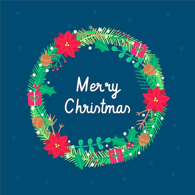 Hand drawn christmas wreath Free Vector