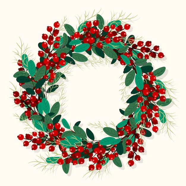 Hand drawn christmas wreath Free Vector
